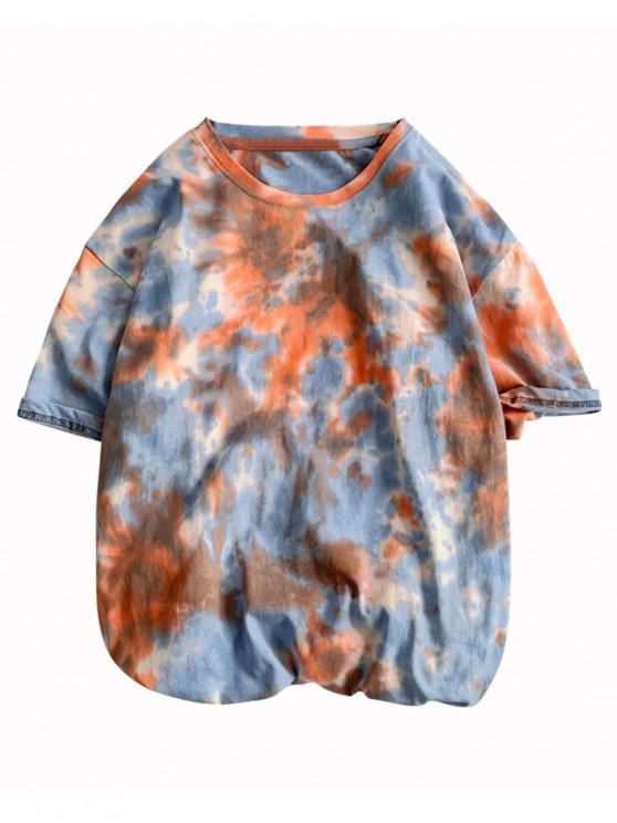 lady Tie Dye Painting Print Short Sleeves T-shirt - ORANGE L