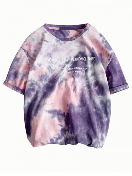 outfit Letter Print Tie Dye Short Sleeves T-shirt - PINK M