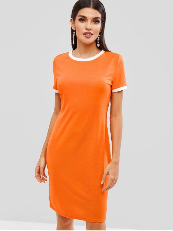 buy ZAFUL Contrast Trim Bodycon Dress - PAPAYA ORANGE S