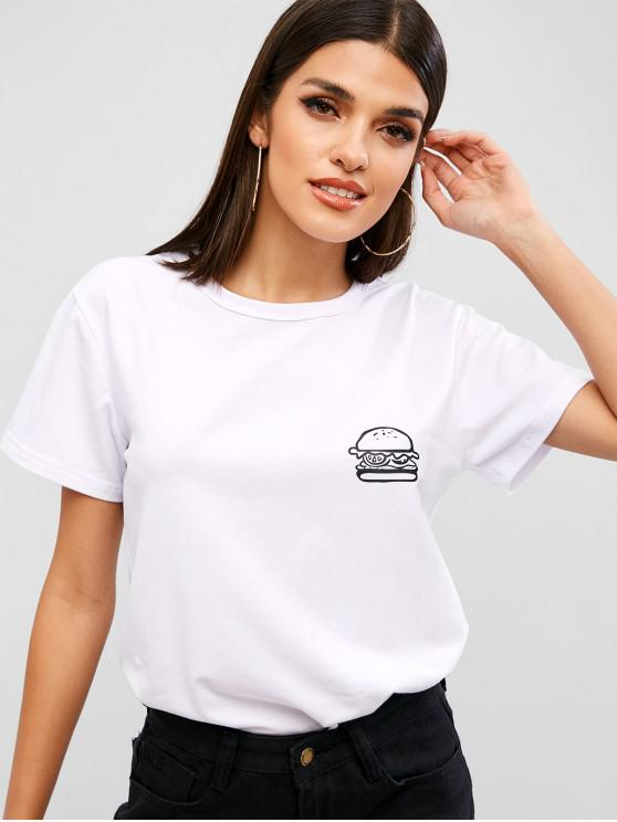 latest Hamburger Graphic Tee - WHITE M