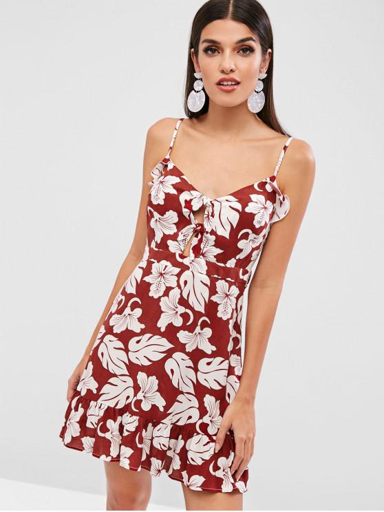 shop ZAFUL Cami Flower Knotted Flounce Dress - RED WINE L