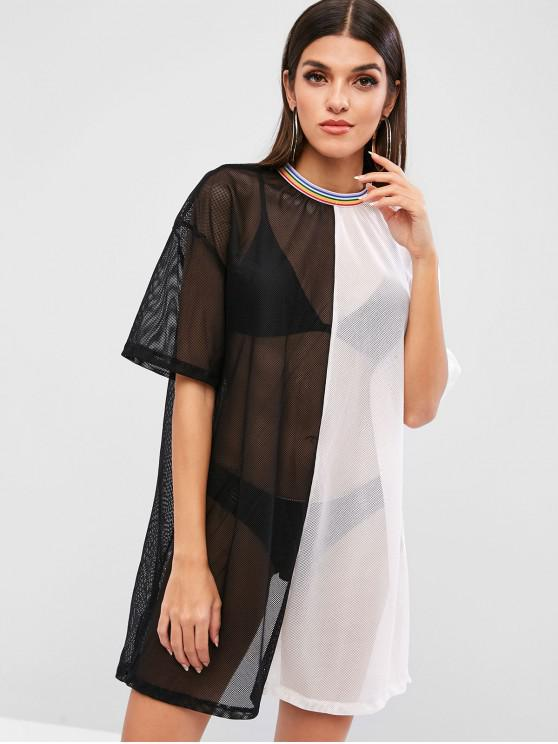hot Stripes Color Block Slit Mesh Tee Dress - BLACK M
