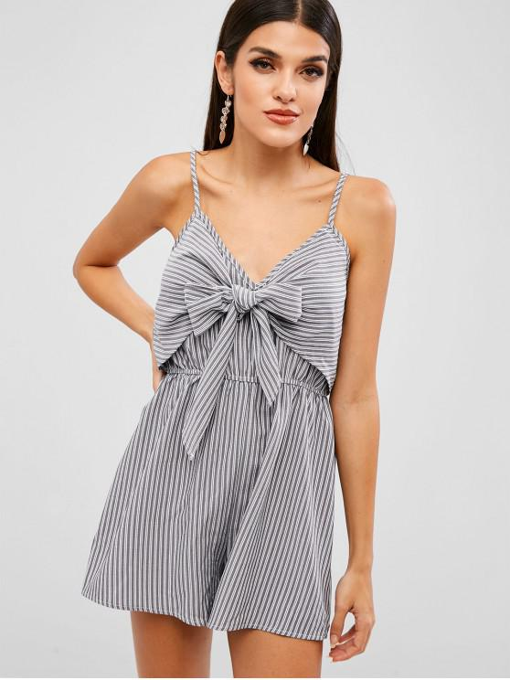 ZAFUL Knot Striped Romper - Gris Carbón M