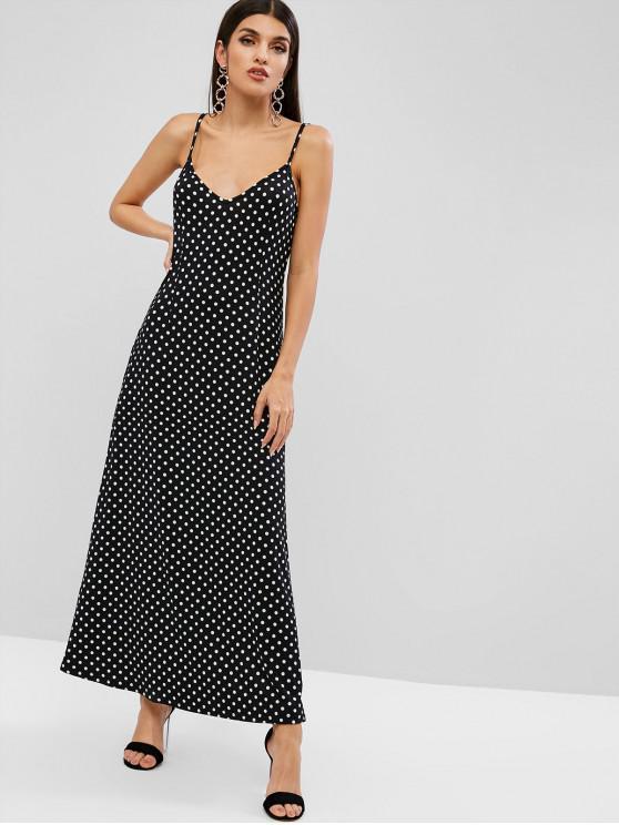 fancy ZAFUL Polka Dot Maxi Cami Dress - BLACK S