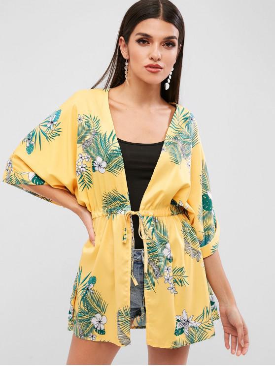 Blouse Kimono Fleurie Feuille Imprimée à Cordon - Jaune Soleil M