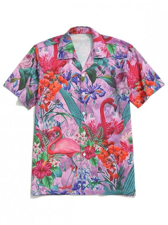 latest Tropical Plant Flower Flamingo Print Beach Shirt - MULTI 2XL