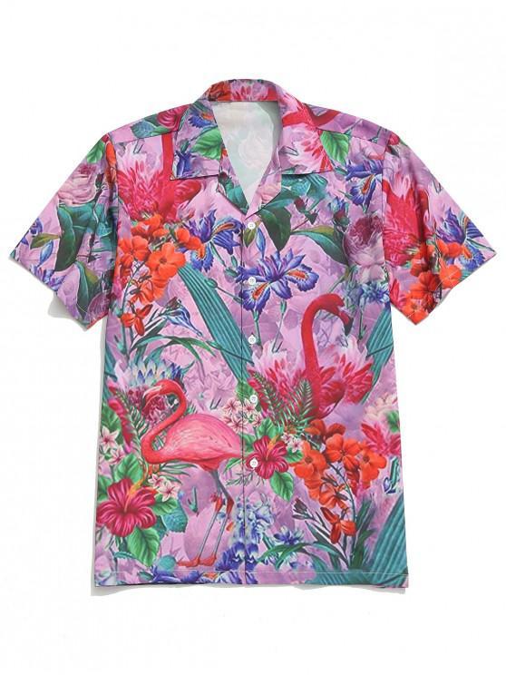 outfit Tropical Plant Flower Flamingo Print Beach Shirt - MULTI S