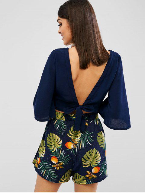 outfit ZAFUL Cut Out Leaves Print Shorts Set - DEEP BLUE M Mobile