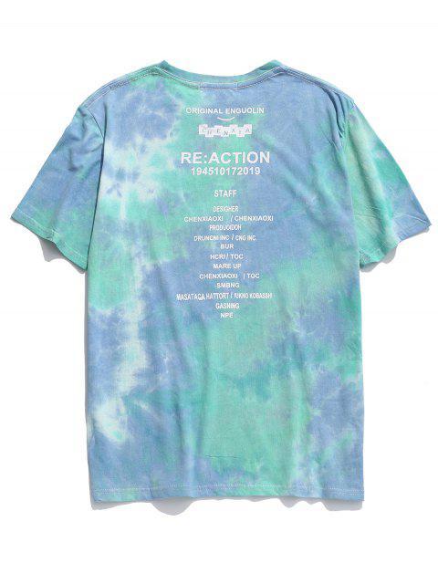 Camiseta de manga corta con estampado de letras - Verde L Mobile