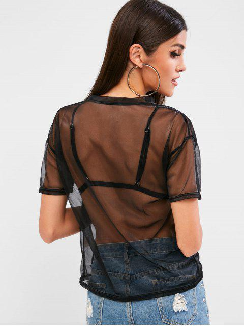 chic Round Neck See Through Mesh Tee - BLACK S Mobile