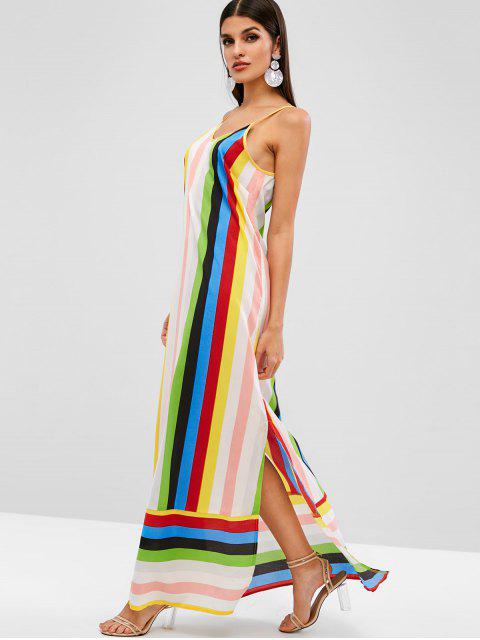 ZAFUL Vestido Maxi Cami Listrado com Corte de Arco-íris - Multi S Mobile