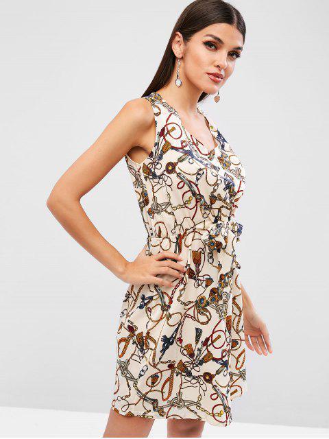 Cravate imprimée sans manches devant une robe de ligne - Blonde XL Mobile