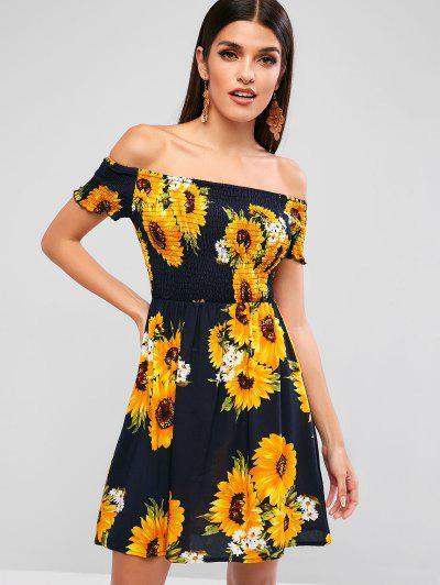 739ae551c1170 ZAFUL Smocked Sunflower Off Shoulder Dress - Dark Slate Blue - Dark Slate  Blue S