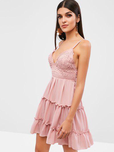 Crochet Panel Tied Back Cami Dress, Pink
