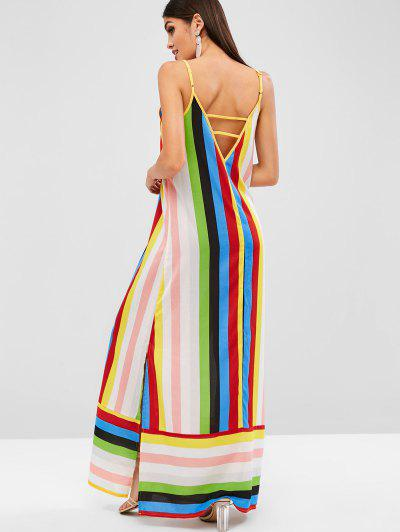 ZAFUL Rainbow Striped Slit Maxi Cami Dress - Multi L