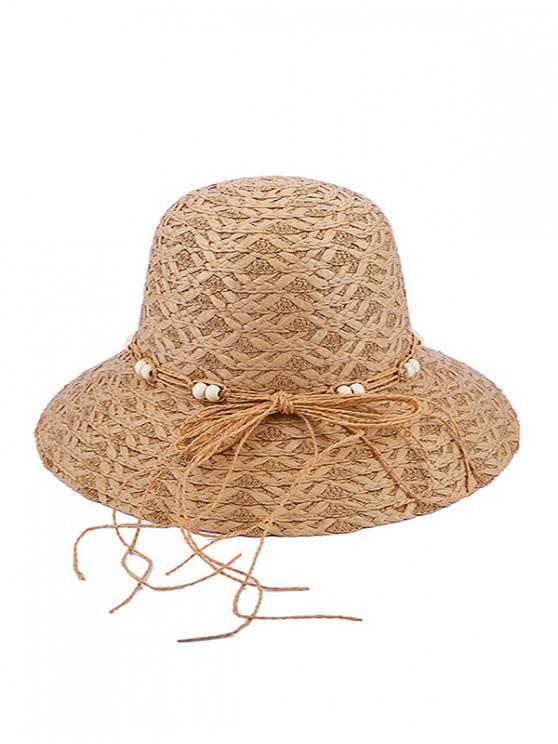 ladies Beaded Bow Straw Hat - KHAKI