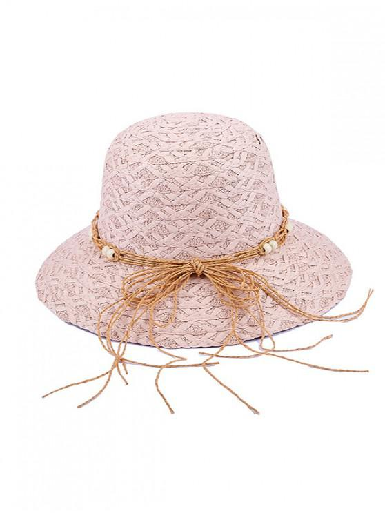 women's Beaded Bow Straw Hat - PINK