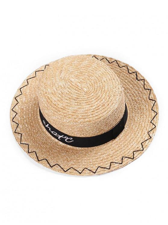 best Simple Embroidered Straw Boater Hat - MULTI-A