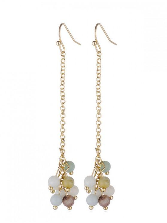 new Stone Beads Dangle Hook Earrings - MULTI