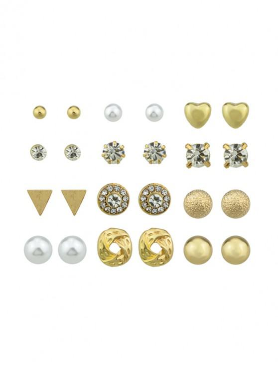 hot 12Pairs Rhinestone Button Earrings Set - GOLD