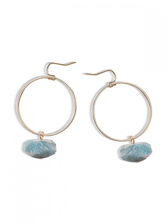outfits Natural Stone Circle Drop Earrings - BABY BLUE