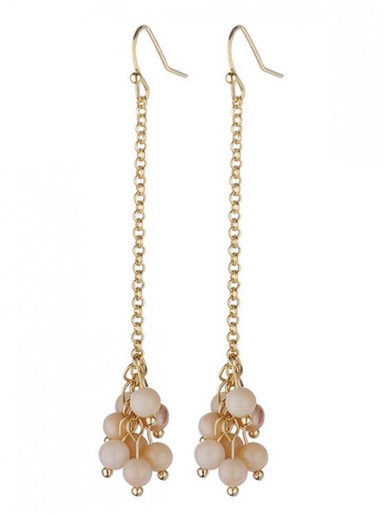 shops Stone Beads Dangle Hook Earrings - CHAMPAGNE