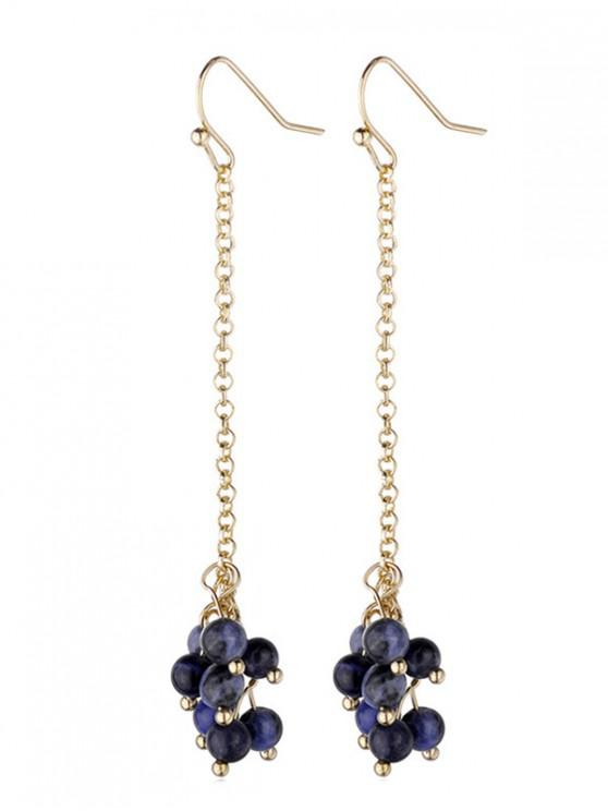 fancy Stone Beads Dangle Hook Earrings - MIDNIGHT BLUE