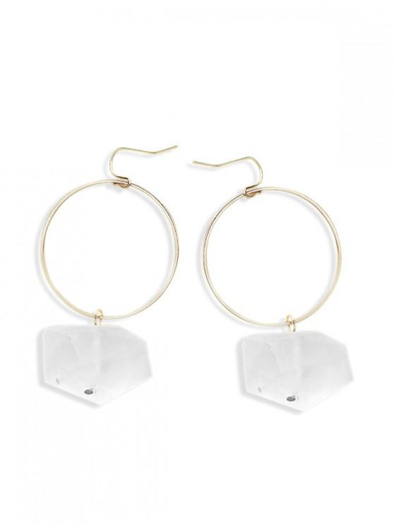 unique Natural Stone Circle Drop Earrings - WHITE