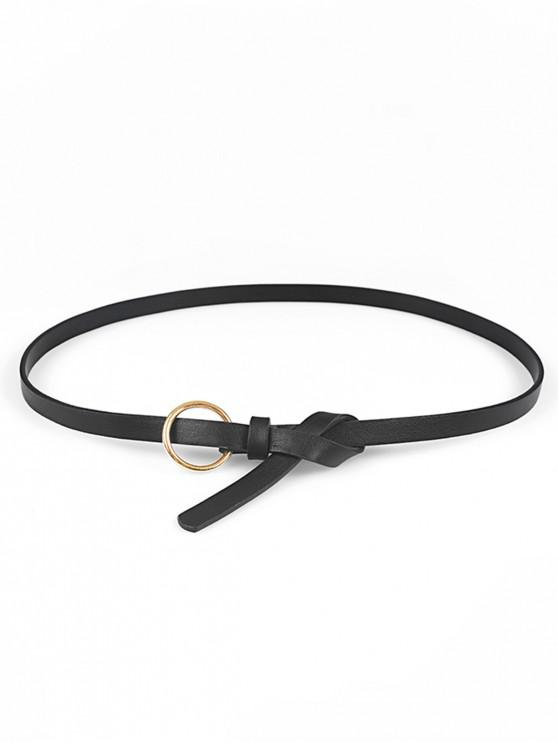 sale Round Ring Decoration PU Waist Belt - BLACK