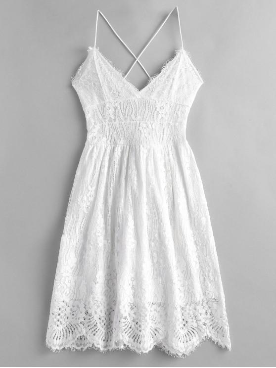women Lace Criss Cross Cami Dress - WHITE L