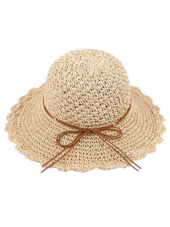 sale Bow Decor Beach Straw Hat - MULTI-A