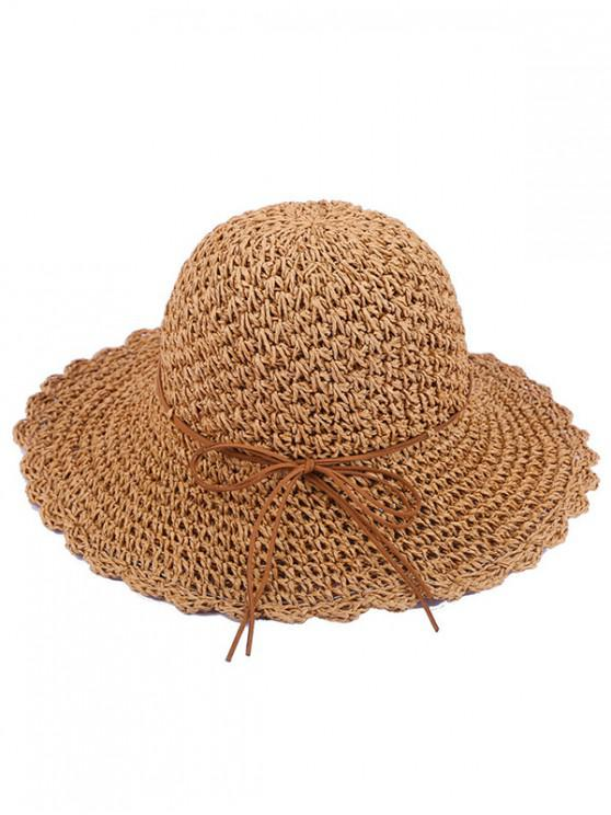 hot Bow Decor Beach Straw Hat - MULTI-B