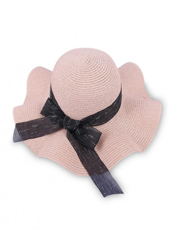 outfits Bow Decor Wavy Straw Hat - PINK