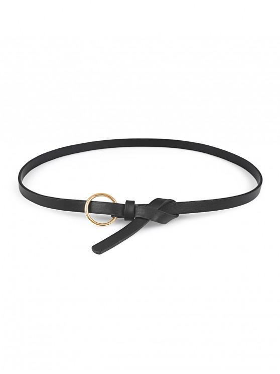shop Circle Buckle Thin Waist Belt - BLACK