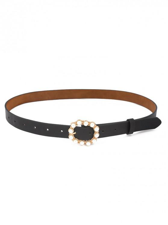 chic Faux Pearl Round Buckle Belt - BLACK