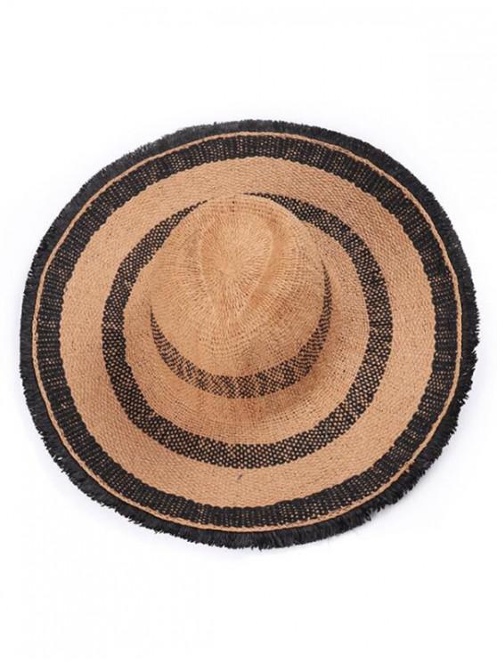 fancy Striped Wide Brim Straw Hat - COFFEE