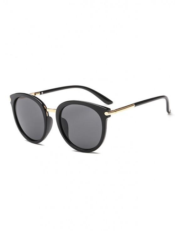 womens Anti UV PC Metal Round Sunglasses - BLACK REGULAR