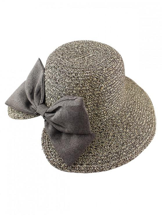 new Bow Decor Straw Hat - BROWN BEAR