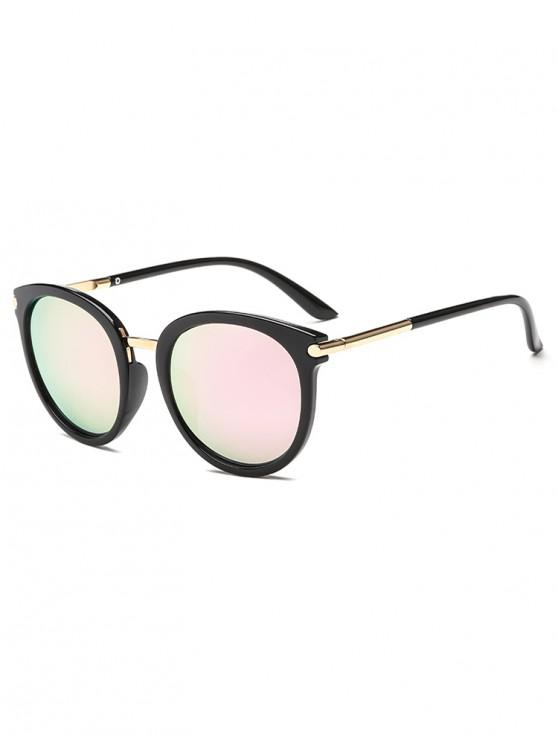 ladies Anti UV PC Metal Round Sunglasses - LIGHT PINK REGULAR