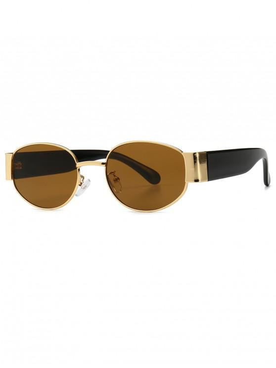hot Punk Oval Shape Design Sunglasses - BROWN