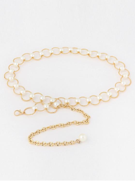 outfit Faux Pearl Waist Chain Belt - GOLD