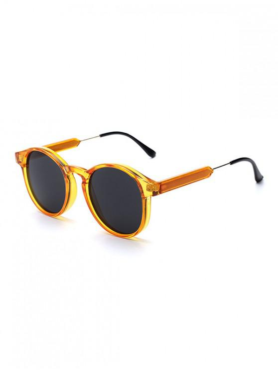 trendy Round Shape Decoration Sunglasses - TANGERINE