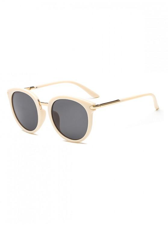 chic Anti UV PC Metal Round Sunglasses - BLANCHED ALMOND REGULAR