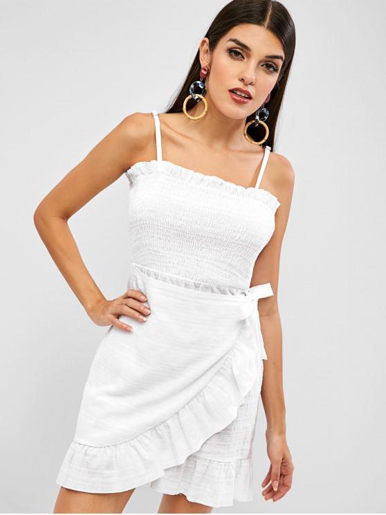 women's ZAFUL Frilled Cami Smocked Flounce Dress - MILK WHITE M