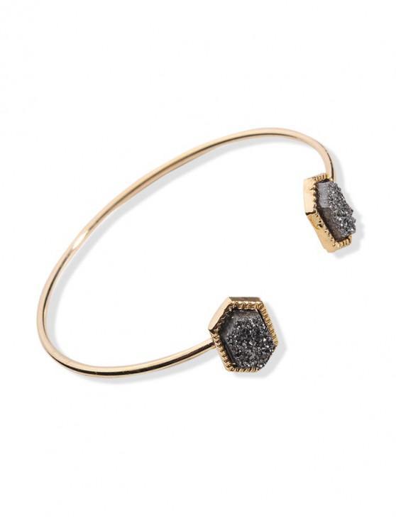 new Geometric Stone Open Cuff Bracelet - BLACK