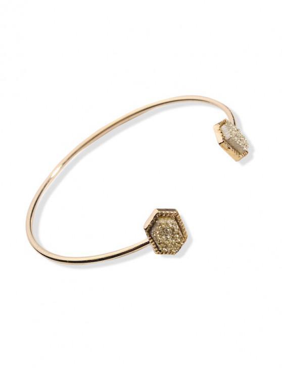 best Geometric Stone Open Cuff Bracelet - GOLD