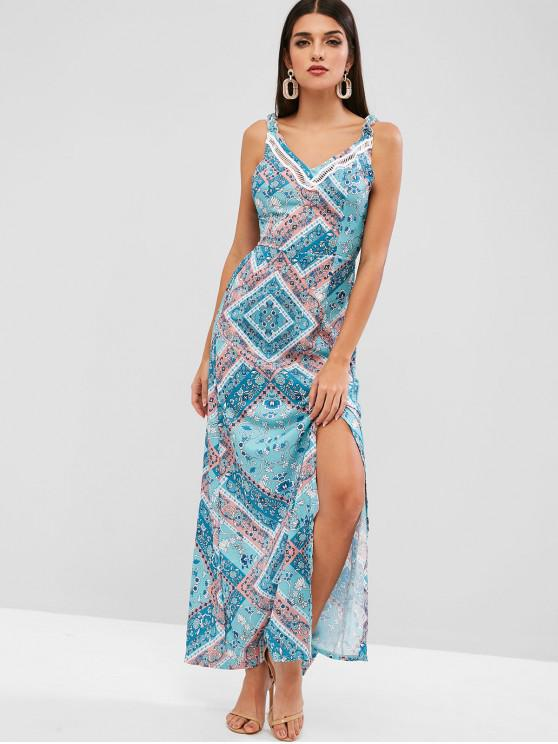 hot Tied Back Floral Slit Maxi Dress - CYAN OPAQUE S
