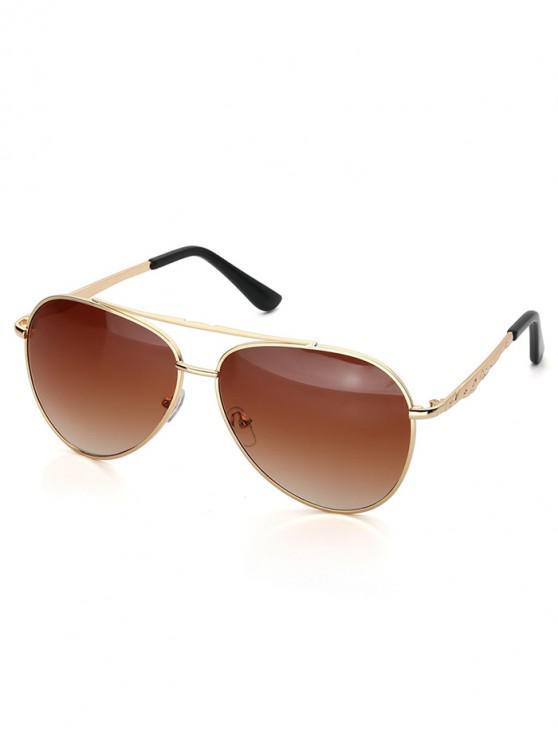 chic Driver Metal Bar Pilot Sunglasses - LIGHT BROWN