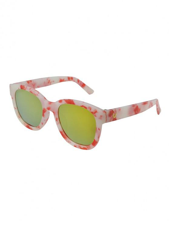 unique Marbling Pattern Mirrored Sunglasses - LAVA RED