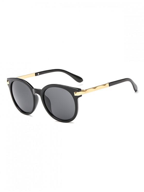 womens Anti UV Round Sunglasses - BLACK REGULAR